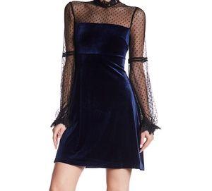 ABS Lace Long Sleeve Velvet Dress